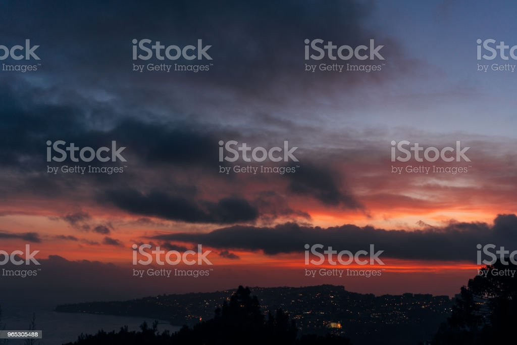 city at dusk photo from the mountain royalty-free stock photo