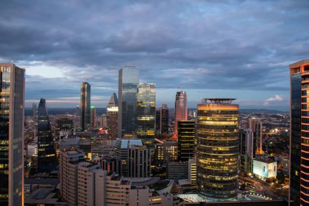 City at dusk stock photo