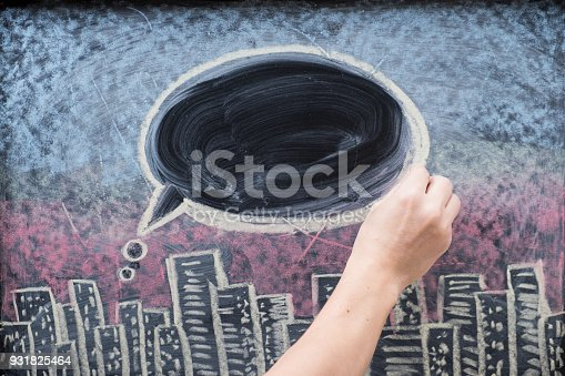 istock City at night on chalkboard, text balloon or bubble drawn with hand on blackboard 931825464