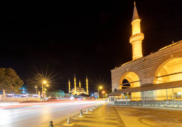 City at night Edirne, Turkey - August 28, 2019: Amazing night view at the streets in Edirne and Selimiye Mosque selimiye mosque night stock pictures, royalty-free photos & images