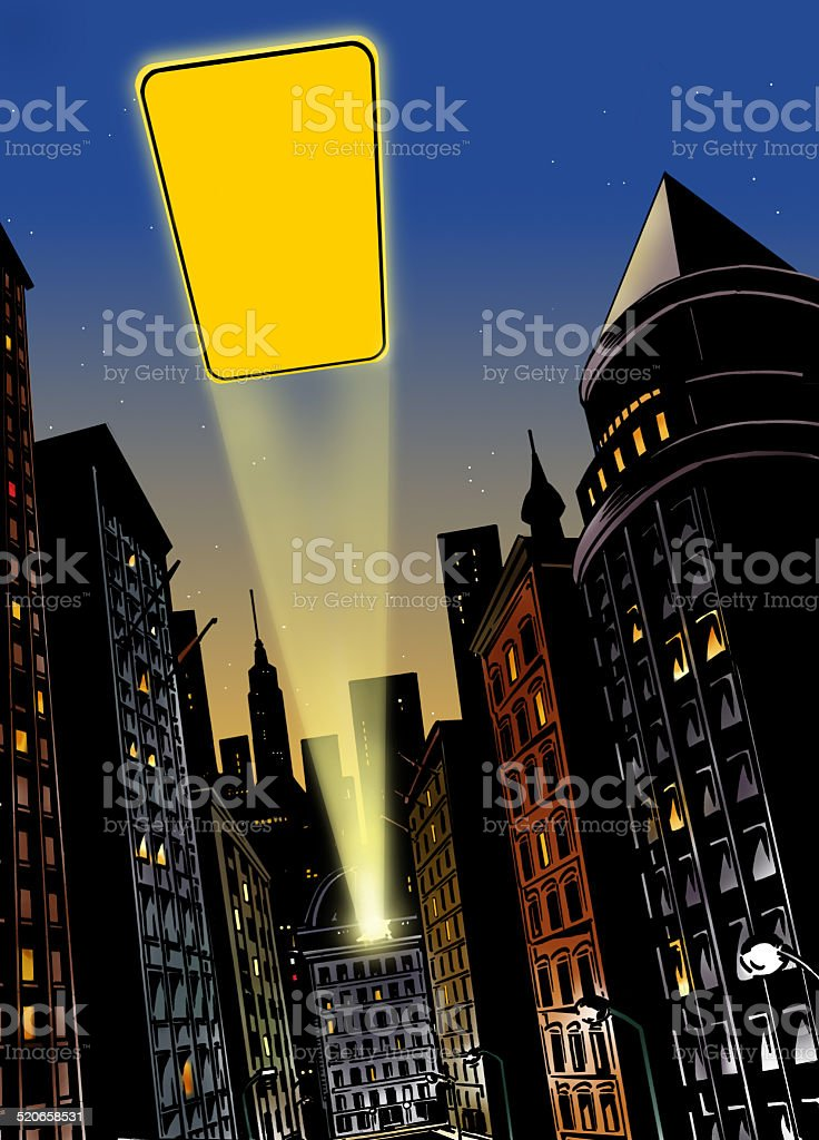 City at night with flash of light in the sky stock photo