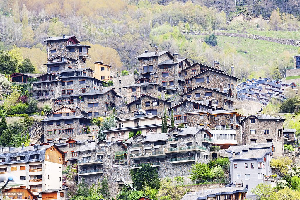 City at  Pyrenees mountains. Andorra la Vella royalty-free stock photo