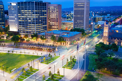 View of downtown area in Adelaide at twilight