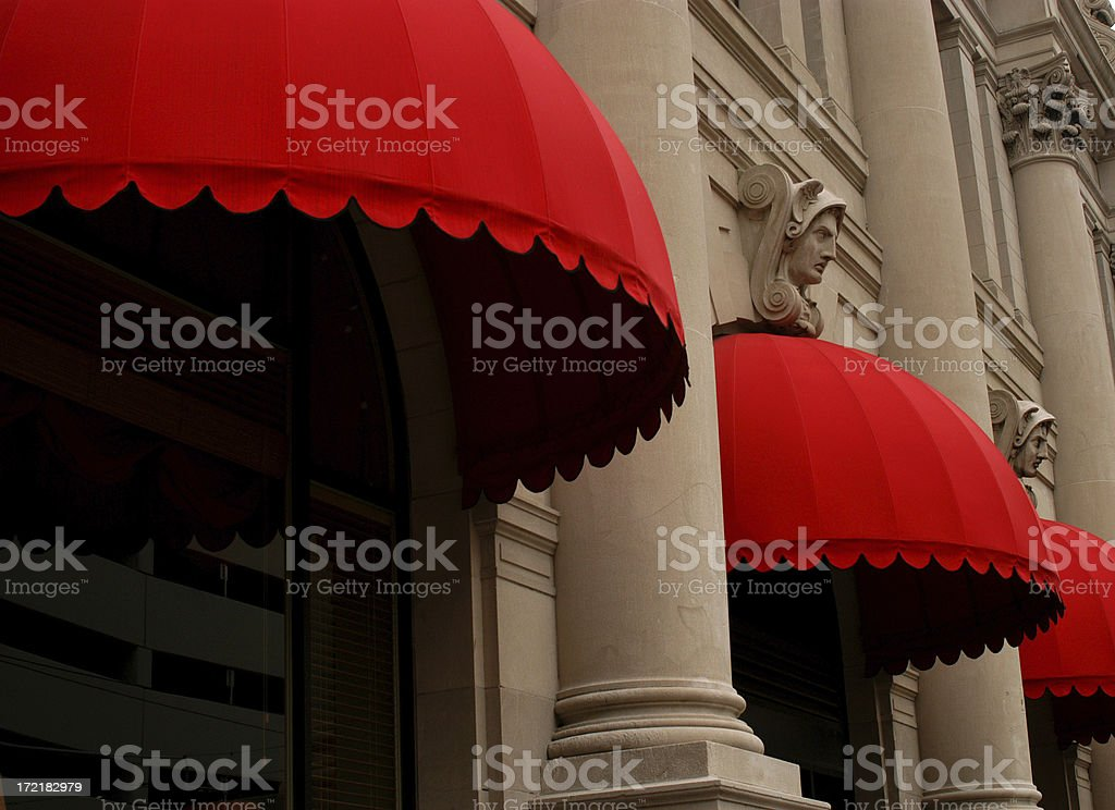 city awning stock photo