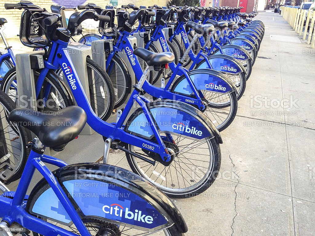 City bank bikes for rent royalty-free stock photo