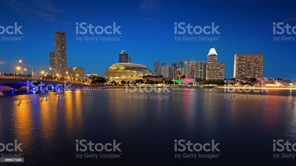 city bay at night stock photo