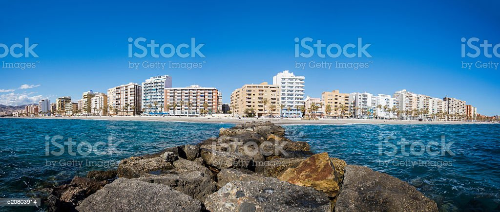 City beach in Almeria, Spain stock photo