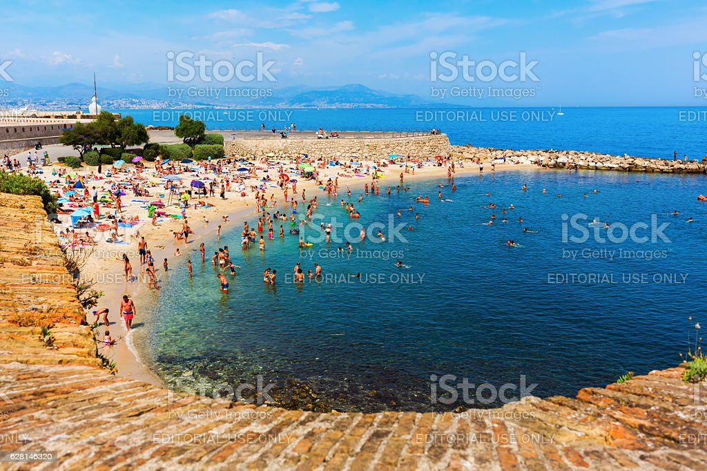 city beach of Antibes, France stock photo
