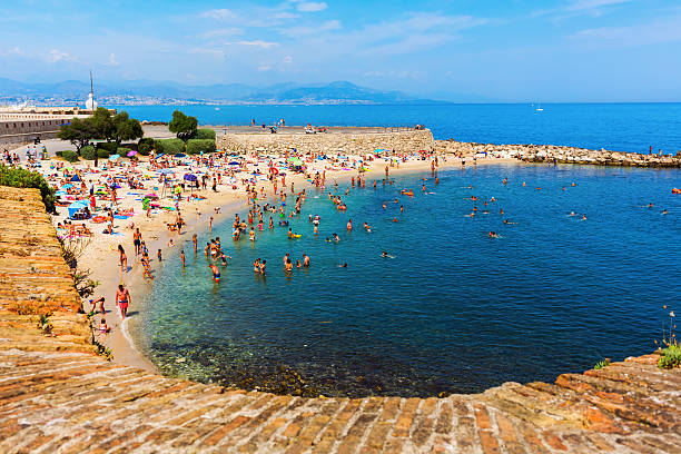 city beach of Antibes, France stock photo