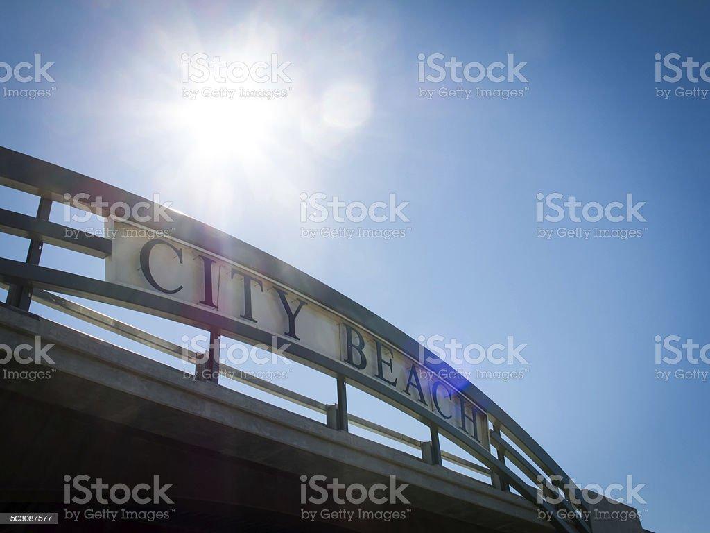 City Beach sign in Sandpoint Idaho stock photo