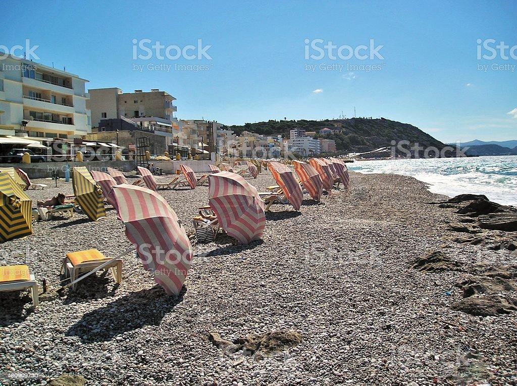 City beach umbrellas 02 stock photo