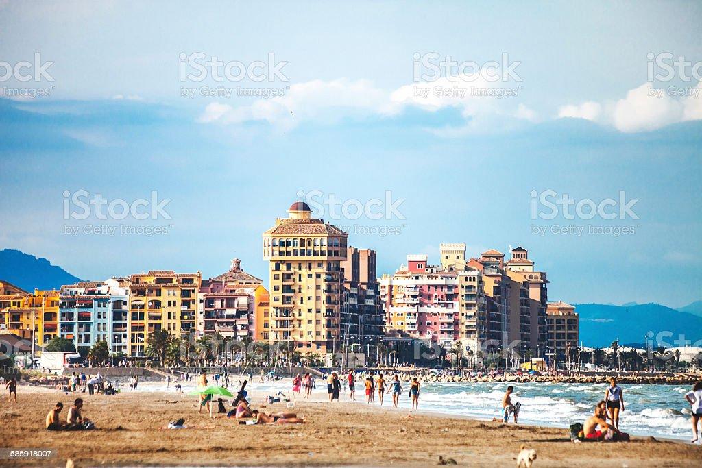 City beach. Valencia, Spain. stock photo
