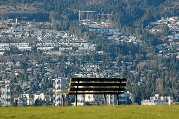 City bench view stock photo