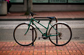 Head on view image of a green city bicycle. Shot in Portland OR.More city bicycle images: