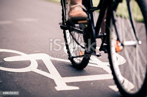 istock City bicycle riding on bike path 498056352