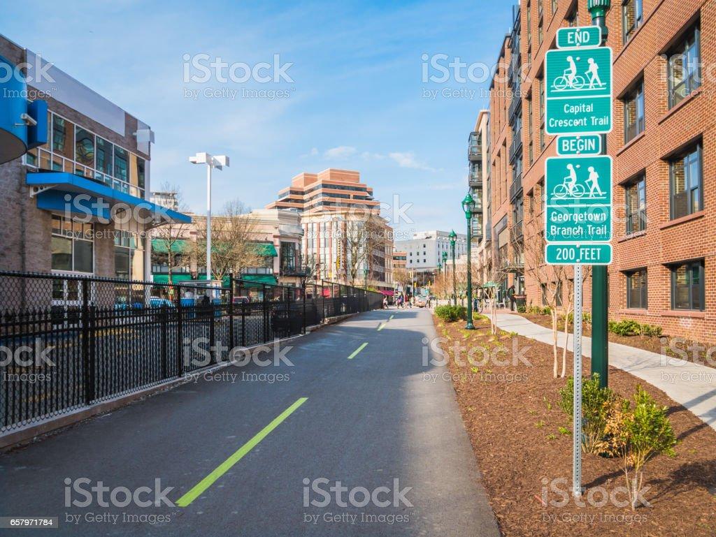 City bike path stock photo
