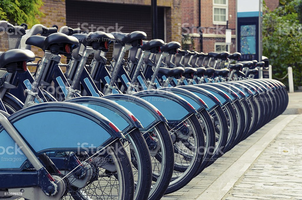 City Bike Rental, London, vintage stock photo