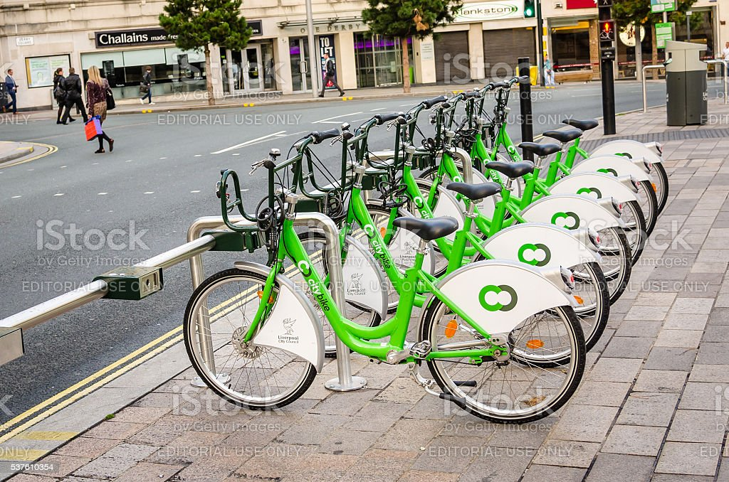 City Bikes for Hire in Liverpool stock photo