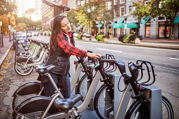 City bikes for hire stock photo