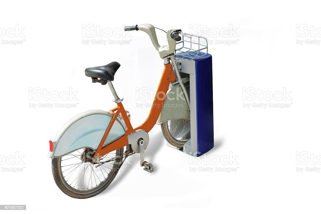 city bikes for rent on white background foto stock royalty-free
