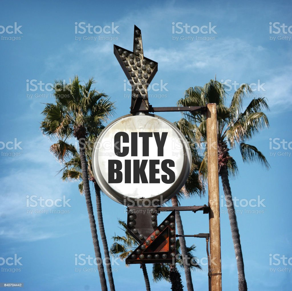 city bikes sign stock photo