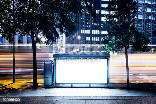 istock City Billboard with Modern Buildings Background 502966400