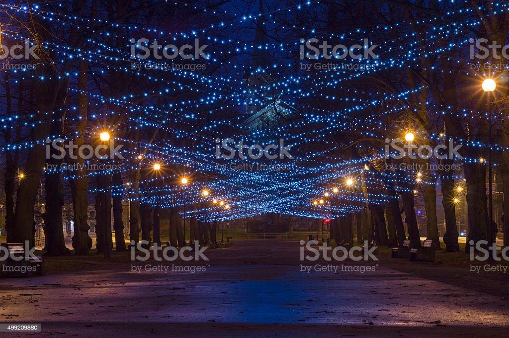 City boulevard mit neues Jahr und Weihnachten Beleuchtung – Foto