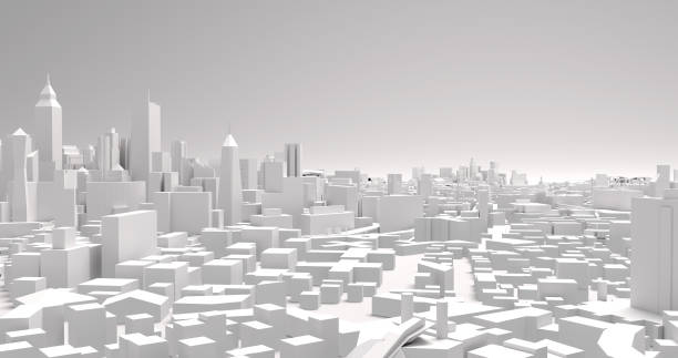 city buildings 3d illustration illustration of a view of a city architecture urban sprawl stock pictures, royalty-free photos & images