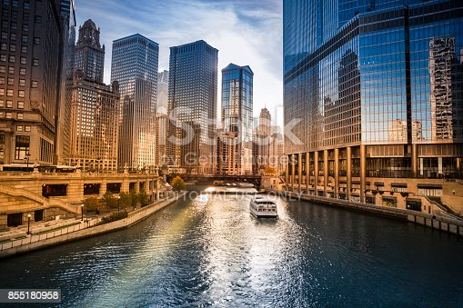 Chicago: The Chicago River is a system of rivers and canals with a combined length of 156 miles (251 km) that runs through the city of Chicago, Illinois, USA.