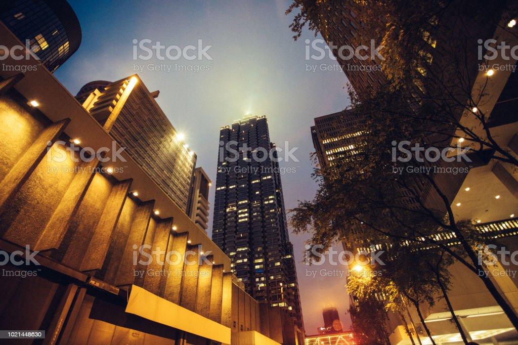 city buildings at night stock photo