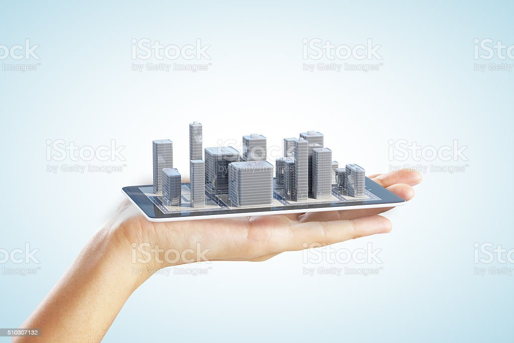 3D city buildings on smartphone and man hand stock photo