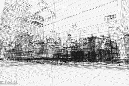 istock City buildings project, 3d wireframe print, urban plan. Architecture 694000388