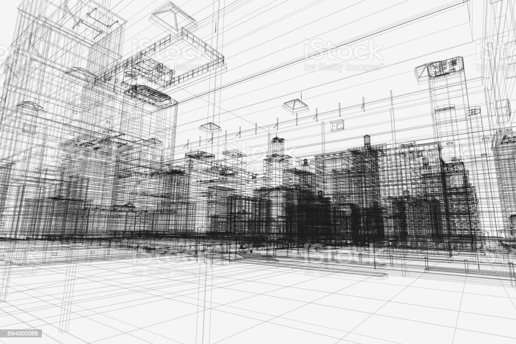 City buildings project, 3d wireframe print, urban plan. Architecture stock photo