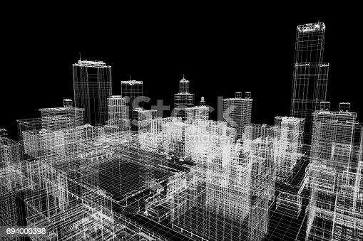 istock City buildings project, 3d wireframe print, urban plan. Architecture 694000398