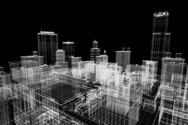 City-Gebäude-Projekt 3d Drahtmodell drucken, Stadtplanung. Architektur – Foto