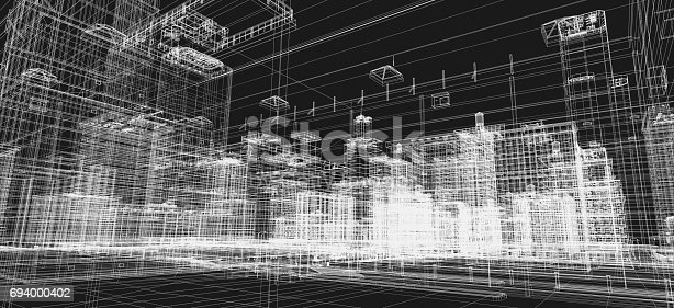 821915804 istock photo City buildings project, 3d wireframe print, urban plan. Architecture 694000402