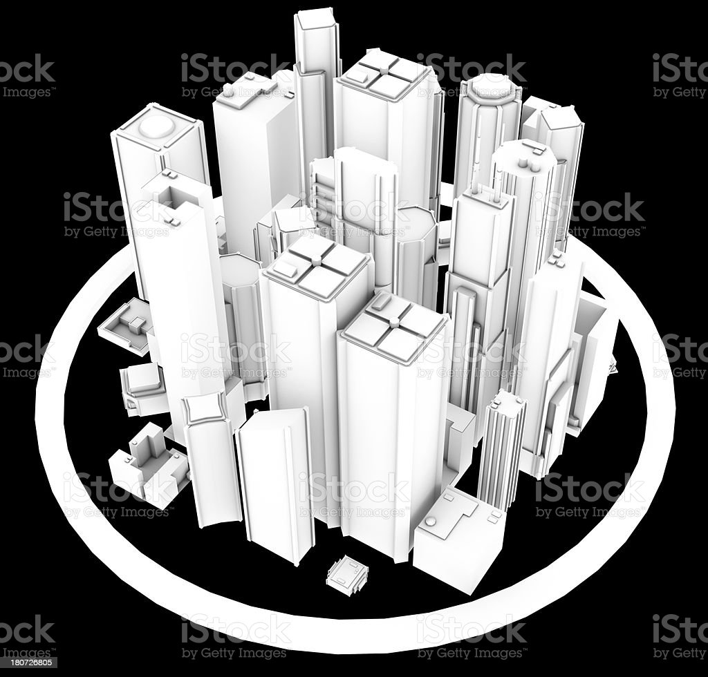 3D City buildings skyscrapers Black And White render stock photo