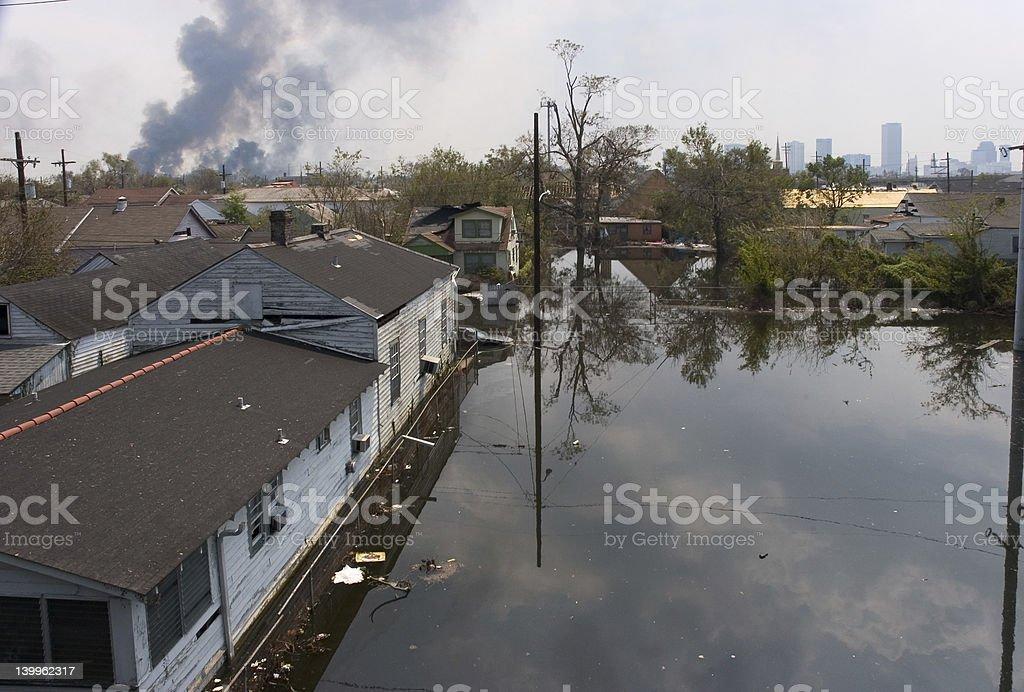 City burning stock photo