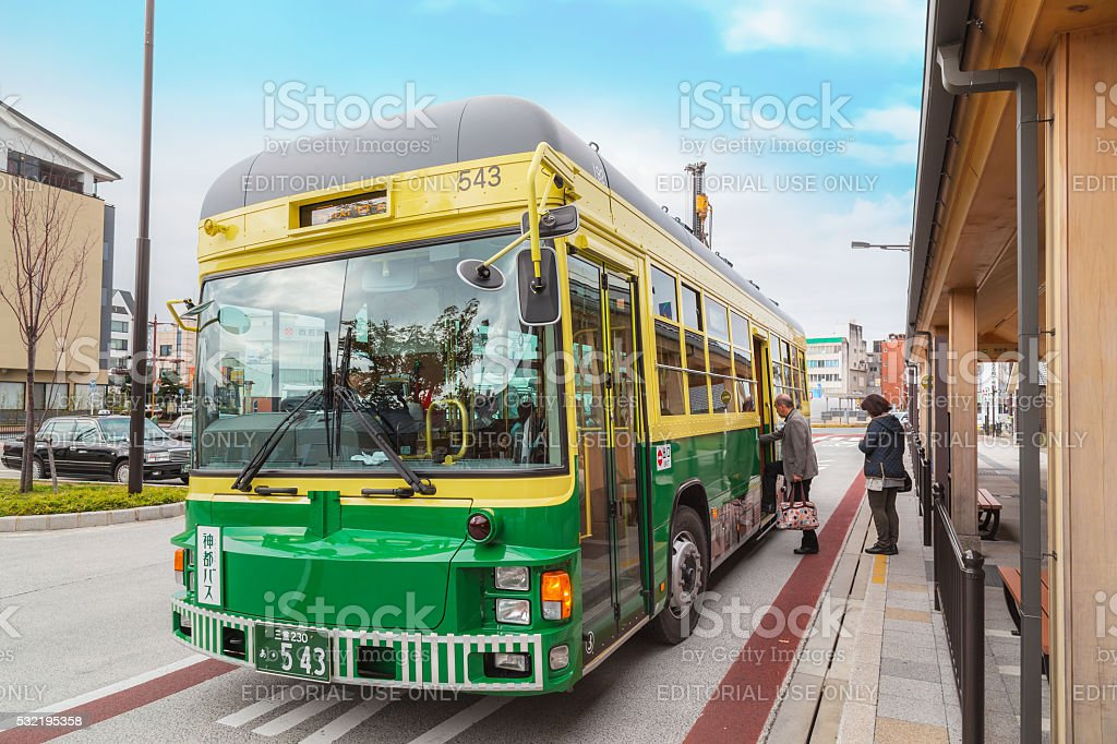 City bus and loop bus at Ise city in Mie prefecture stock photo