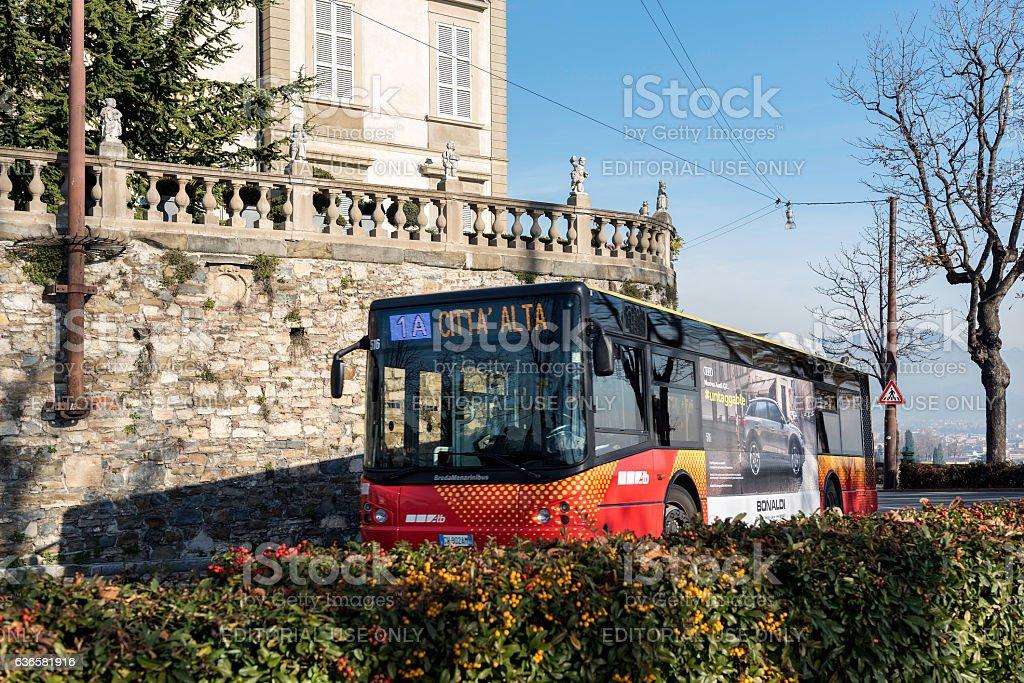 City bus at Bergamo town, Italy stock photo