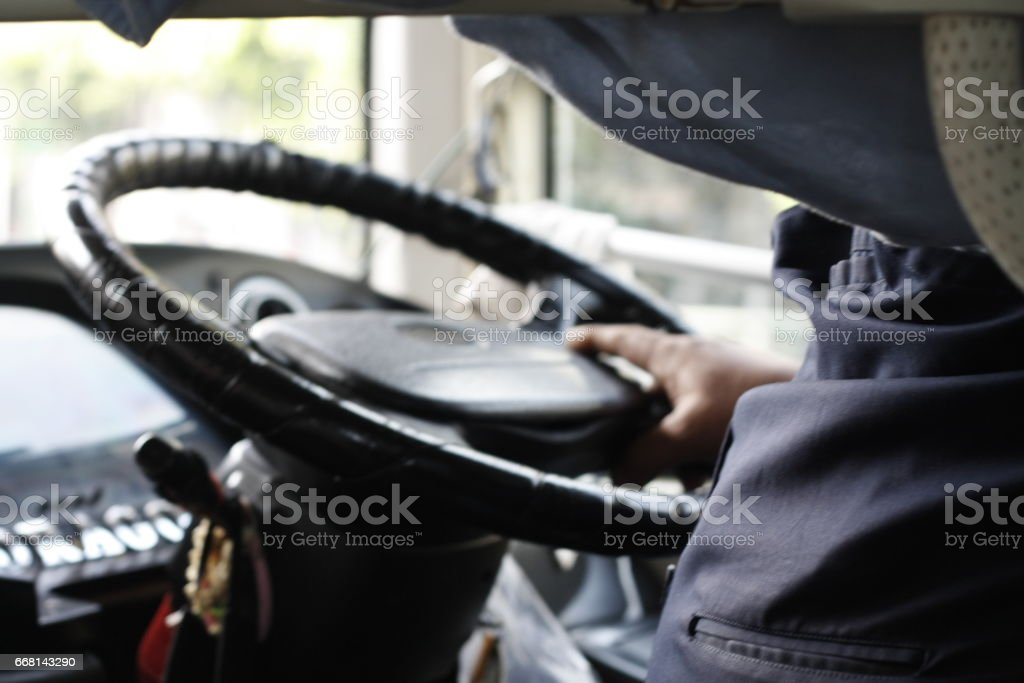 city bus steering wheel stock photo