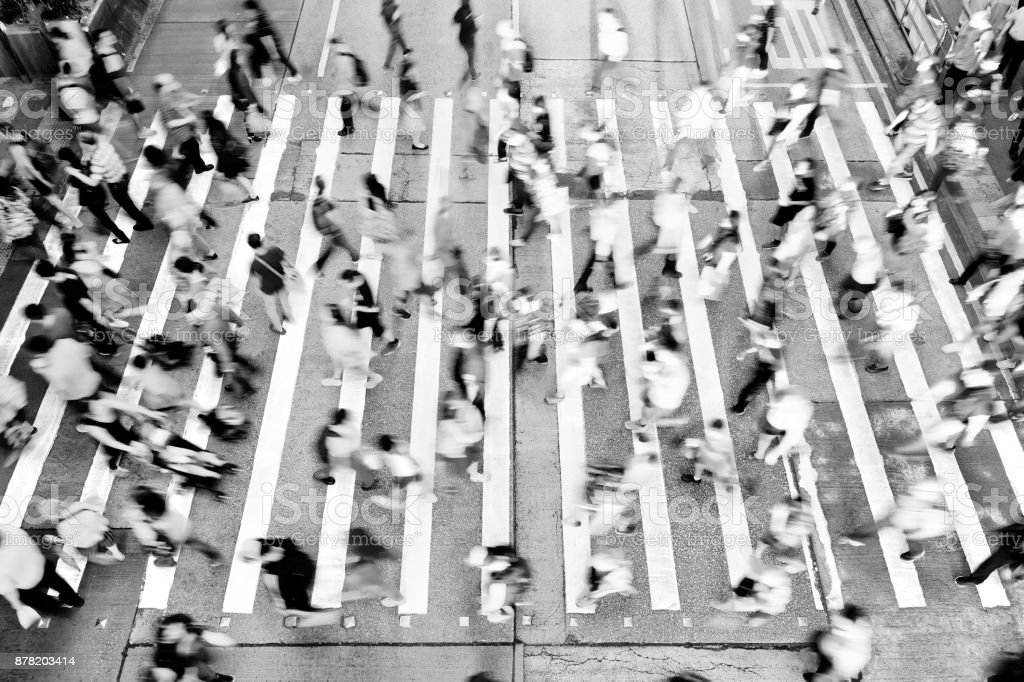 City Busy pedestrian crossing stock photo