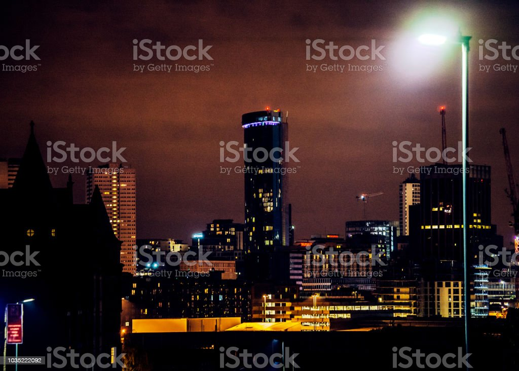 City by night - Birmingham, UK stock photo