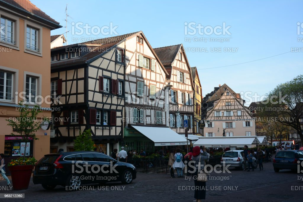 City center area of Colmar, Alsace, France stock photo
