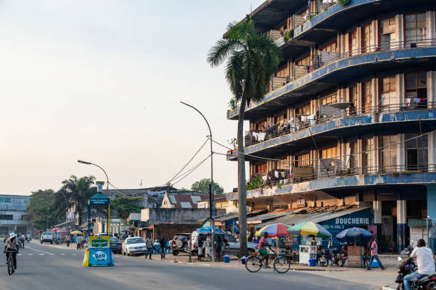 City Center of Kisangani town (formerly Stanleyville), DR Congo stock photo