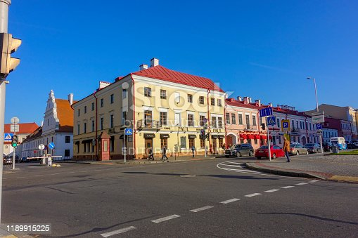 Minsk, Belarus - October 14, 2019: City center of Minsk and Paul bakery shop in background
