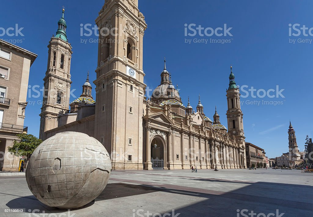 City center of Zaragoza with the Cathedral, Spain stock photo