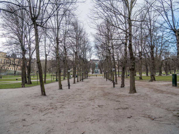 Stockholm, Sweden - April 13, 2020. City center park Humlegården is empty of people due to the corona virus restriction. stock photo
