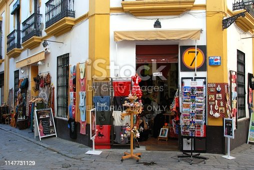 Tourists gift shop in the Santa Cruz district of the city, Seville, Seville Province, Andalusia, Spain, Europe.
