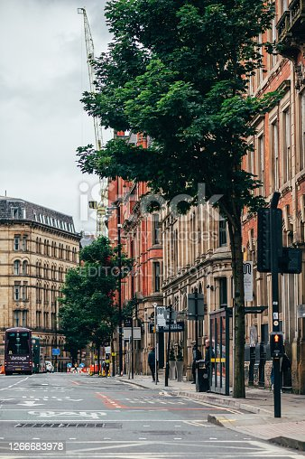 Manchester, England, UK - 24 July, 2020 City centre of Manchester, almost empty streets due to recent lockdown